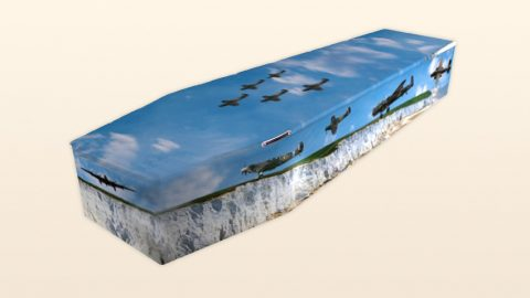 Coffin with airplanes
