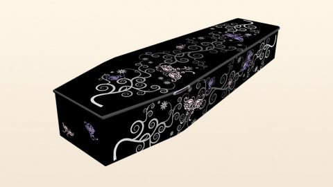 Coffin with butterfly ribbons