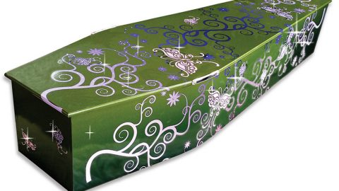 Coffin with butterfly ribbons and sparkle